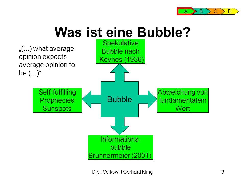 Dipl. Volkswirt Gerhard Kling3 Was ist eine Bubble? A BCD Bubble Spekulative Bubble nach Keynes (1936) Informations- bubble Brunnermeier (2001) Abweic