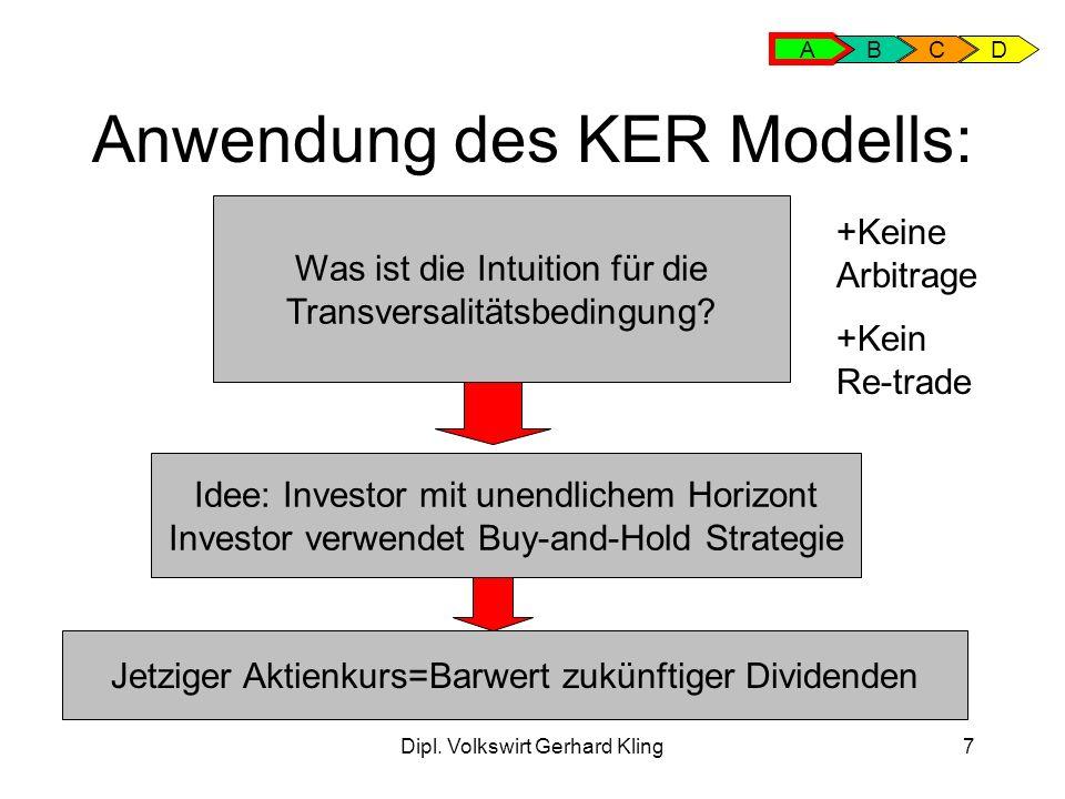 Dipl. Volkswirt Gerhard Kling7 Anwendung des KER Modells: Was ist die Intuition für die Transversalitätsbedingung? Idee: Investor mit unendlichem Hori