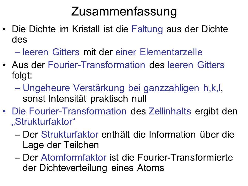 Zusammenfassung Die Dichte im Kristall ist die Faltung aus der Dichte des –leeren Gitters mit der einer Elementarzelle Aus der Fourier-Transformation