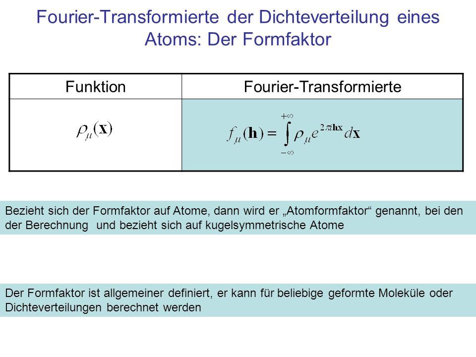 Fourier-Transformierte der Dichteverteilung eines Atoms: Der Formfaktor FunktionFourier-Transformierte Bezieht sich der Formfaktor auf Atome, dann wir