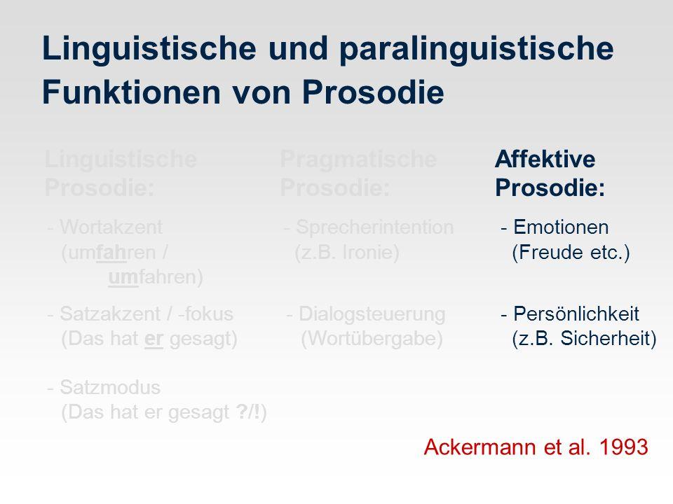 Linguistische und paralinguistische Funktionen von Prosodie Linguistische PragmatischeAffektive Prosodie: Prosodie:Prosodie: - Wortakzent - Sprecherin
