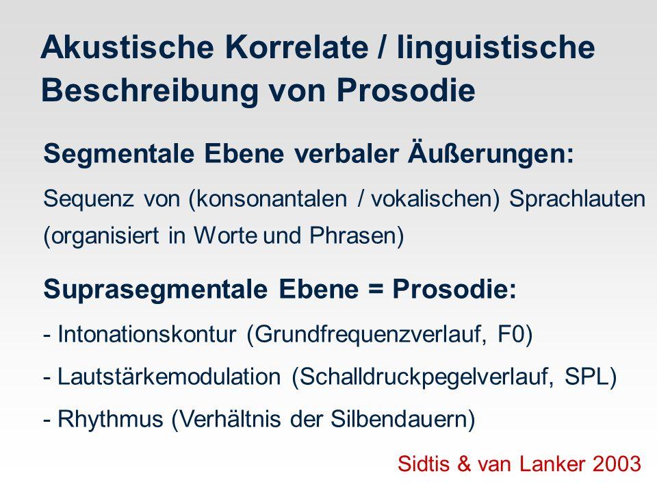 Akustische Korrelate / linguistische Beschreibung von Prosodie Segmentale Ebene verbaler Äußerungen: Sequenz von (konsonantalen / vokalischen) Sprachl