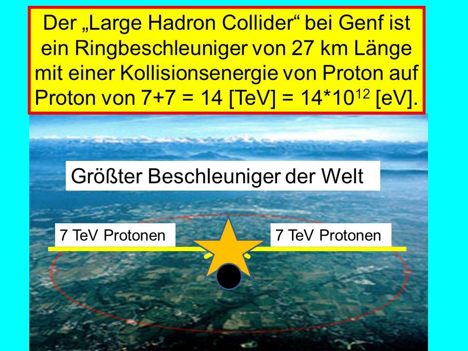 Der Large Hadron Collider bei Genf ist ein Ringbeschleuniger von 27 km Länge mit einer Kollisionsenergie von Proton auf Proton von 7+7 = 14 [TeV] = 14