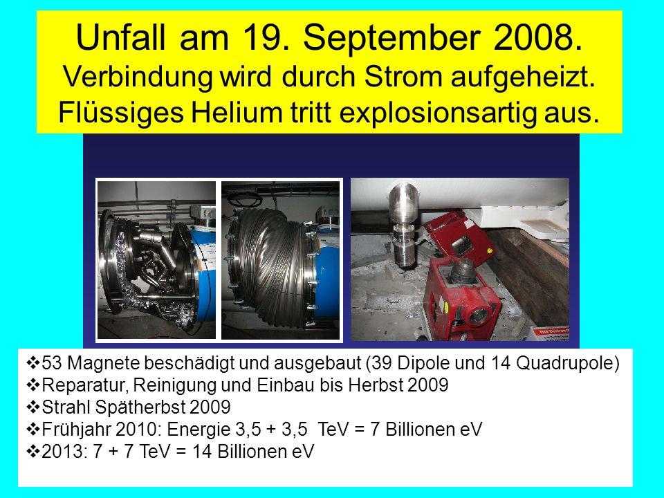 Unfall am 19. September 2008. Verbindung wird durch Strom aufgeheizt. Flüssiges Helium tritt explosionsartig aus. 53 Magnete beschädigt und ausgebaut