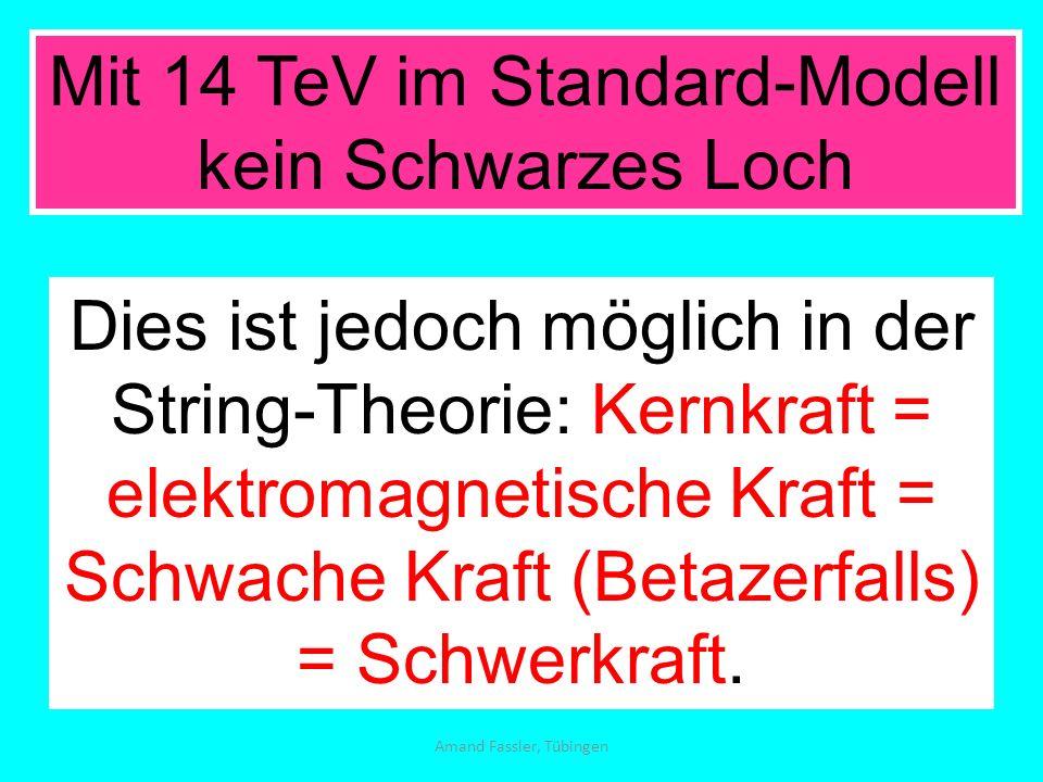 Amand Fassler, Tübingen Mit 14 TeV im Standard-Modell kein Schwarzes Loch Dies ist jedoch möglich in der String-Theorie: Kernkraft = elektromagnetisch
