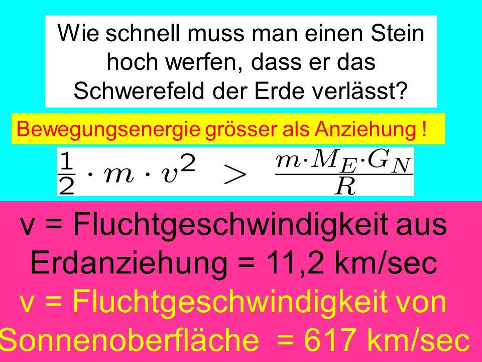 Amand Fassler, Tübingen Wie schnell muss man einen Stein hoch werfen, dass er das Schwerefeld der Erde verlässt? Bewegungsenergie grösser als Anziehun