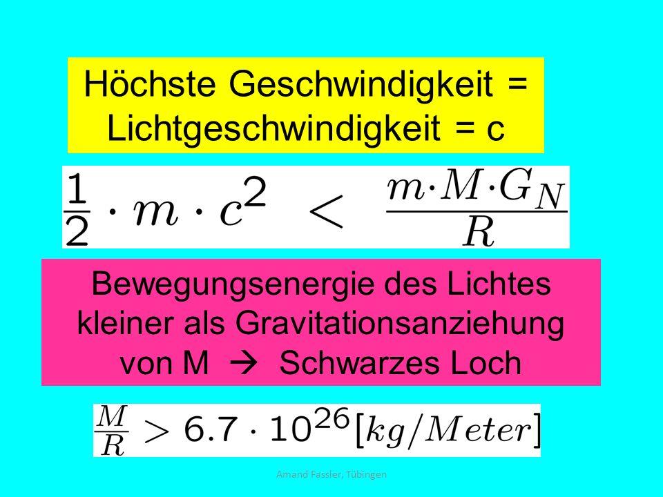Amand Fassler, Tübingen Höchste Geschwindigkeit = Lichtgeschwindigkeit = c Bewegungsenergie des Lichtes kleiner als Gravitationsanziehung von M Schwar