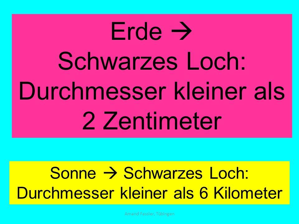 Amand Fassler, Tübingen Erde Schwarzes Loch: Durchmesser kleiner als 2 Zentimeter Sonne Schwarzes Loch: Durchmesser kleiner als 6 Kilometer