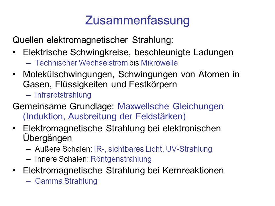 Zusammenfassung Quellen elektromagnetischer Strahlung: Elektrische Schwingkreise, beschleunigte Ladungen –Technischer Wechselstrom bis Mikrowelle Mole