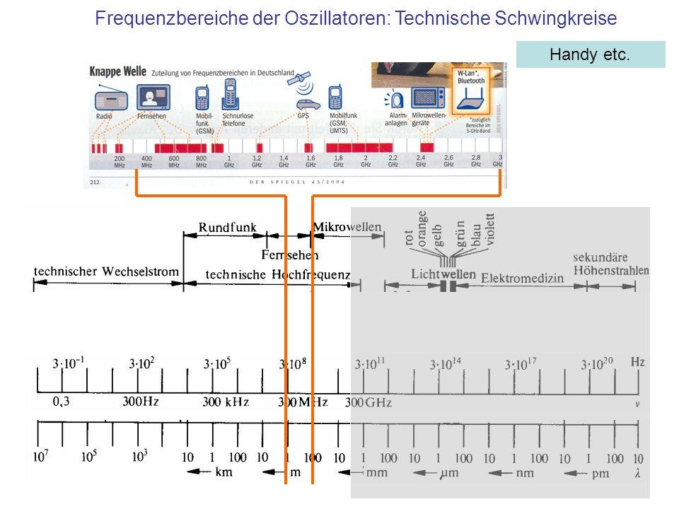 Handy etc. Frequenzbereiche der Oszillatoren: Technische Schwingkreise