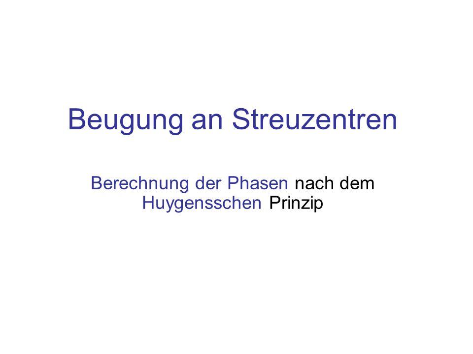 Beugung an Streuzentren Berechnung der Phasen nach dem Huygensschen Prinzip