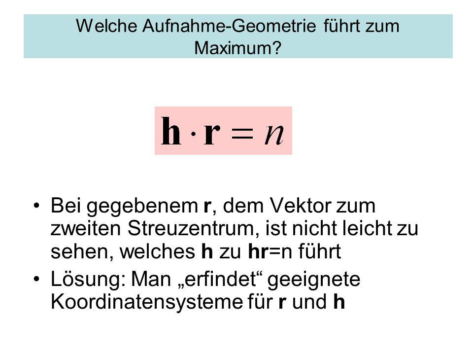 Welche Aufnahme-Geometrie führt zum Maximum? Bei gegebenem r, dem Vektor zum zweiten Streuzentrum, ist nicht leicht zu sehen, welches h zu hr=n führt