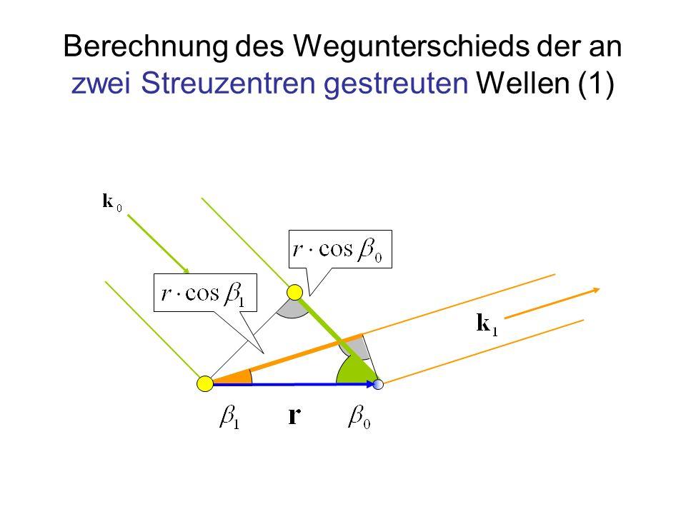 Berechnung des Wegunterschieds der an zwei Streuzentren gestreuten Wellen (1)