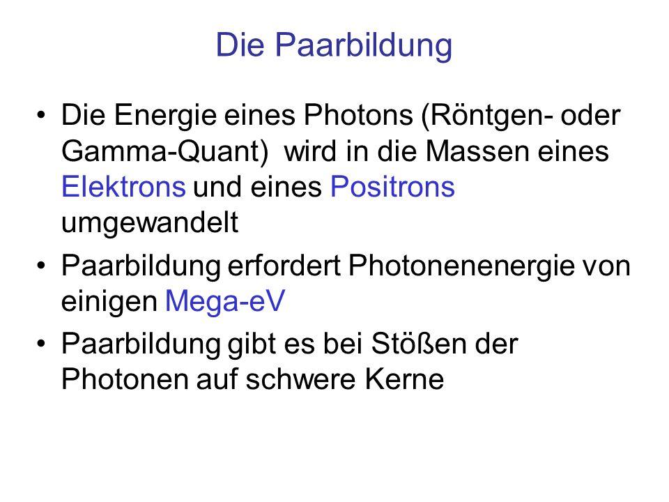 Die Paarbildung Die Energie eines Photons (Röntgen- oder Gamma-Quant) wird in die Massen eines Elektrons und eines Positrons umgewandelt Paarbildung e