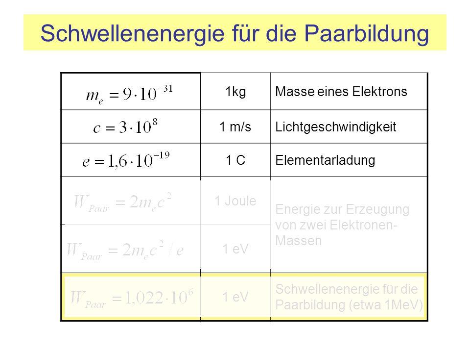 Schwellenenergie für die Paarbildung 1kgMasse eines Elektrons 1 m/sLichtgeschwindigkeit 1 CElementarladung 1 Joule Energie zur Erzeugung von zwei Elek