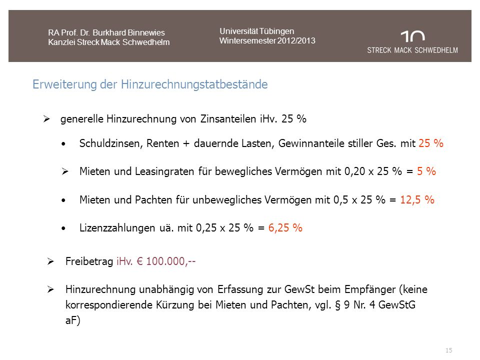 15 RA Prof. Dr. Burkhard Binnewies Kanzlei Streck Mack Schwedhelm Universität Tübingen Wintersemester 2012/2013 Erweiterung der Hinzurechnungstatbestä