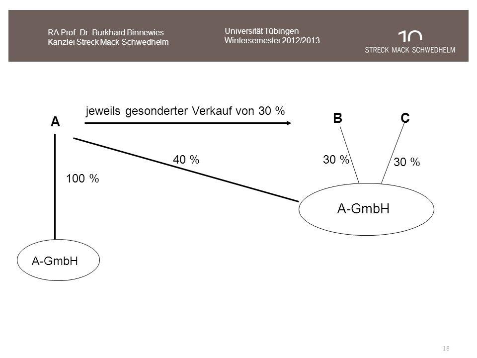 18 RA Prof. Dr. Burkhard Binnewies Kanzlei Streck Mack Schwedhelm A-GmbH A 100 % CB jeweils gesonderter Verkauf von 30 % A-GmbH 40 % 30 % Universität