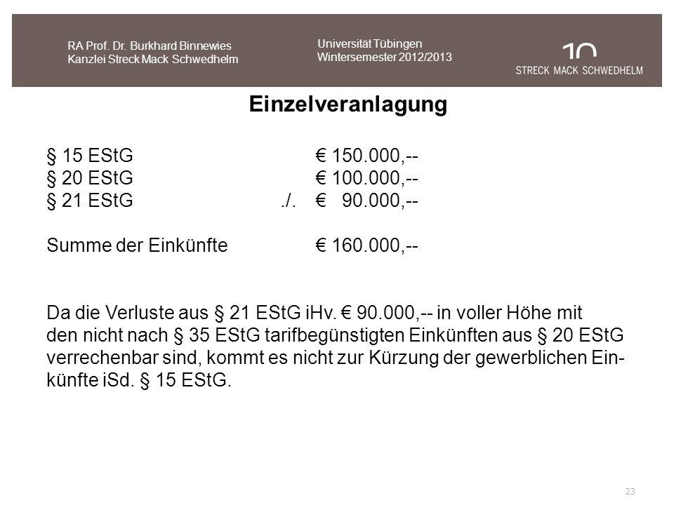 23 RA Prof. Dr. Burkhard Binnewies Kanzlei Streck Mack Schwedhelm § 15 EStG 150.000,-- § 20 EStG 100.000,-- § 21 EStG./. 90.000,-- Summe der Einkünfte