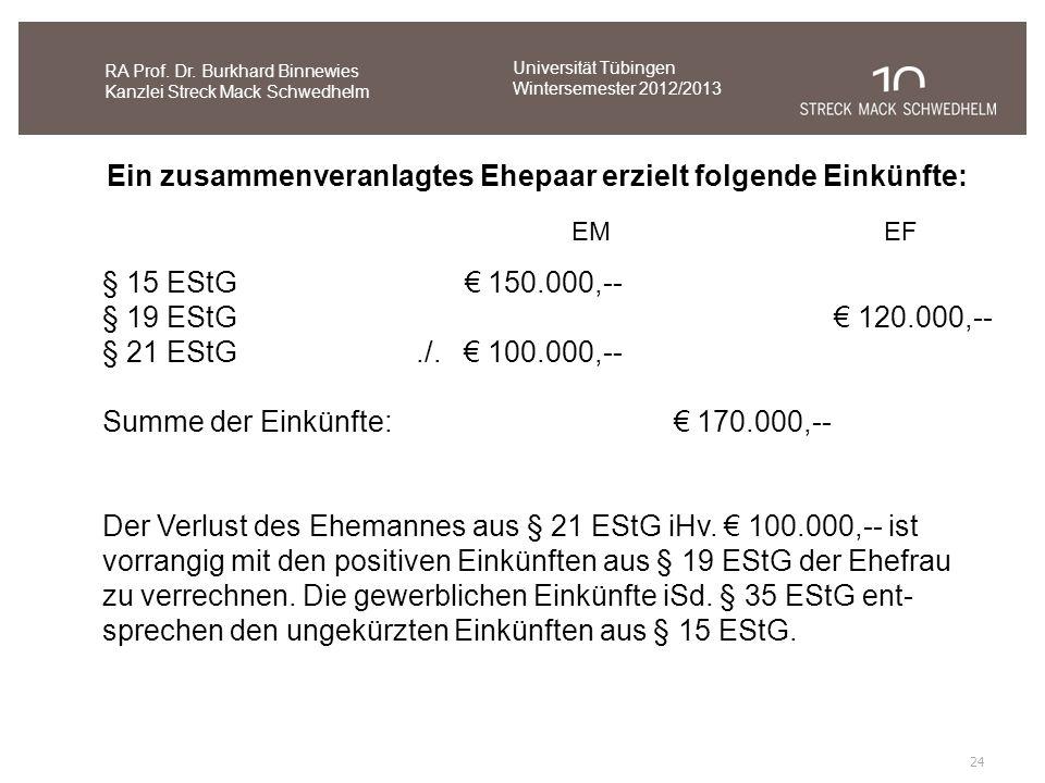 24 RA Prof. Dr. Burkhard Binnewies Kanzlei Streck Mack Schwedhelm Ein zusammenveranlagtes Ehepaar erzielt folgende Einkünfte: § 15 EStG 150.000,-- § 1