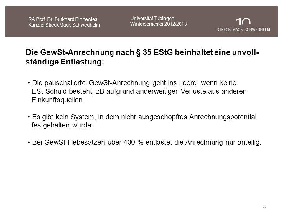 25 RA Prof. Dr. Burkhard Binnewies Kanzlei Streck Mack Schwedhelm Die GewSt-Anrechnung nach § 35 EStG beinhaltet eine unvoll- ständige Entlastung: Die