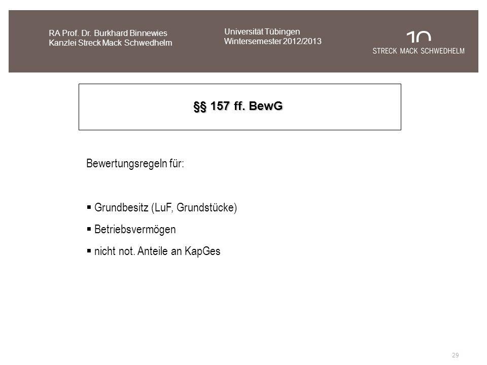 Bewertungsregeln für: Grundbesitz (LuF, Grundstücke) Betriebsvermögen nicht not. Anteile an KapGes RA Prof. Dr. Burkhard Binnewies Kanzlei Streck Mack