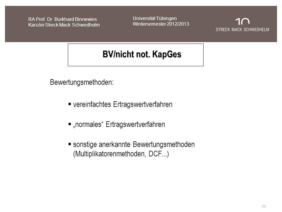 BV/nicht not. KapGes Bewertungsmethoden: vereinfachtes Ertragswertverfahren normales Ertragswertverfahren sonstige anerkannte Bewertungsmethoden (Mult
