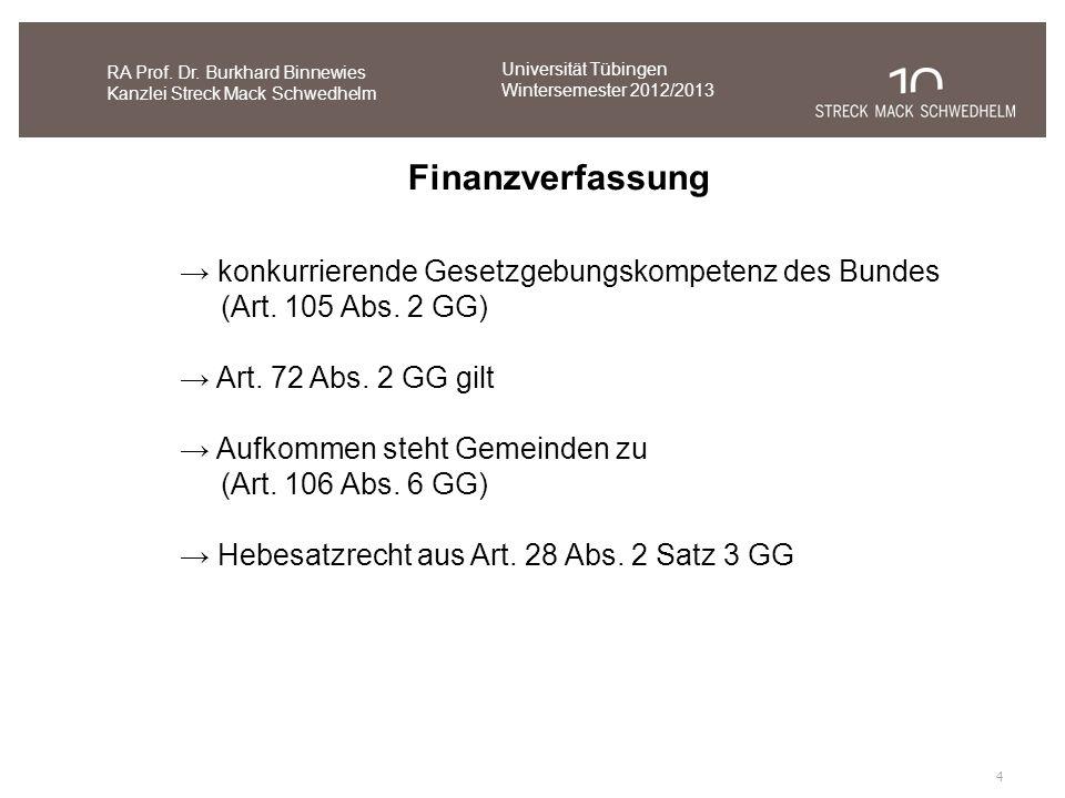 4 RA Prof. Dr. Burkhard Binnewies Kanzlei Streck Mack Schwedhelm Finanzverfassung konkurrierende Gesetzgebungskompetenz des Bundes (Art. 105 Abs. 2 GG