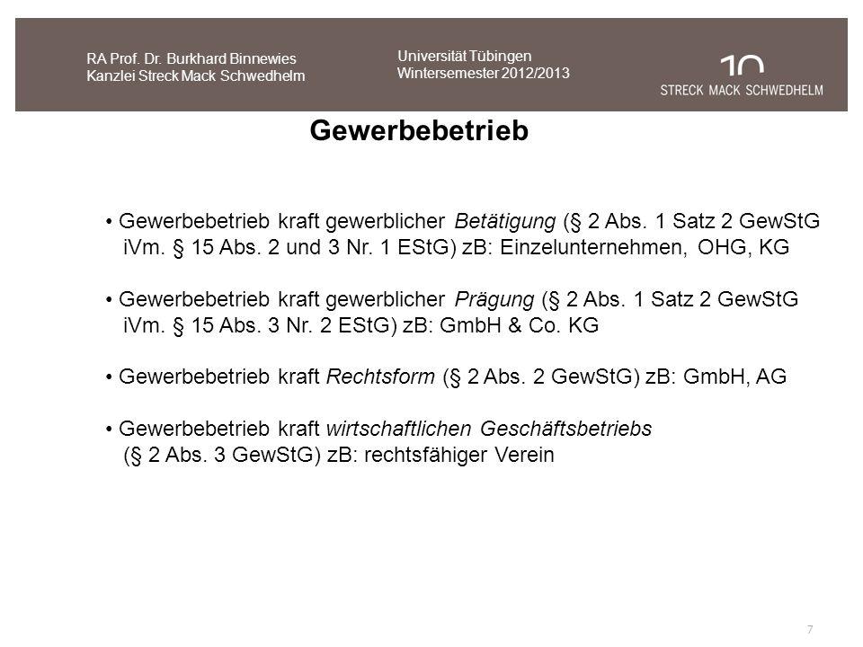 7 RA Prof. Dr. Burkhard Binnewies Kanzlei Streck Mack Schwedhelm Gewerbebetrieb Gewerbebetrieb kraft gewerblicher Betätigung (§ 2 Abs. 1 Satz 2 GewStG