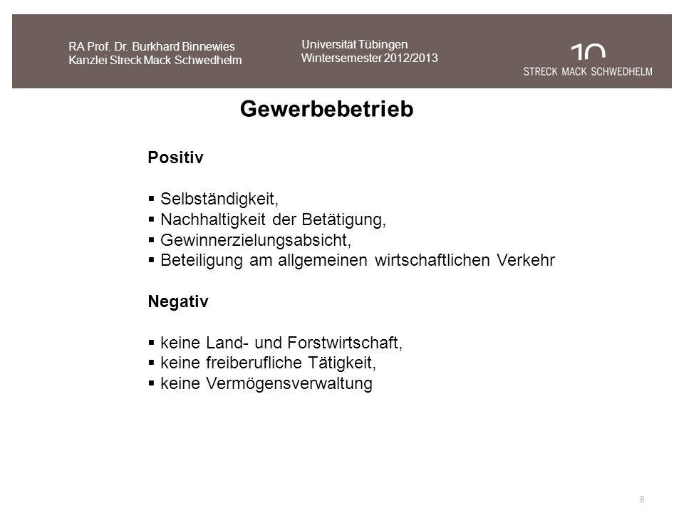 8 RA Prof. Dr. Burkhard Binnewies Kanzlei Streck Mack Schwedhelm Gewerbebetrieb Positiv Selbständigkeit, Nachhaltigkeit der Betätigung, Gewinnerzielun