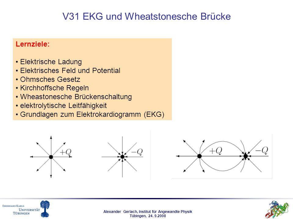 Alexander Gerlach, Institut für Angewandte Physik Tübingen, 24. 9.2008 V31 EKG und Wheatstonesche Brücke Lernziele: Elektrische Ladung Elektrisches Fe