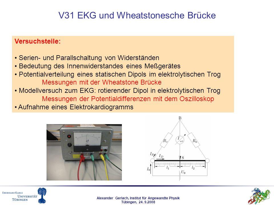 Alexander Gerlach, Institut für Angewandte Physik Tübingen, 24. 9.2008 V31 EKG und Wheatstonesche Brücke Versuchsteile: Serien- und Parallschaltung vo