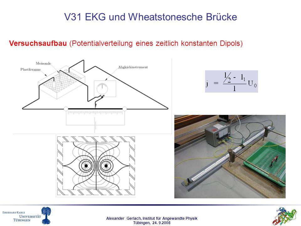 Alexander Gerlach, Institut für Angewandte Physik Tübingen, 24. 9.2008 V31 EKG und Wheatstonesche Brücke Versuchsaufbau (Potentialverteilung eines zei