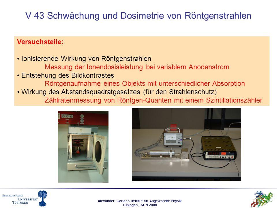 Alexander Gerlach, Institut für Angewandte Physik Tübingen, 24. 9.2008 V 43 Schwächung und Dosimetrie von Röntgenstrahlen Versuchsteile: Ionisierende