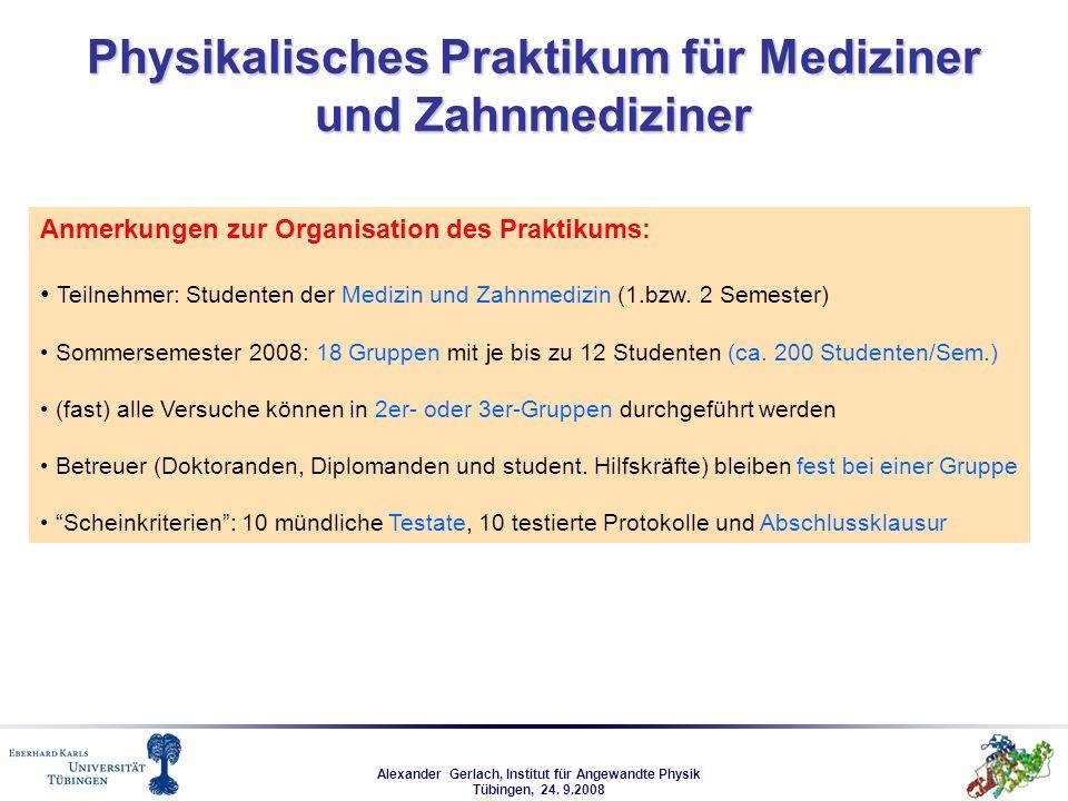Alexander Gerlach, Institut für Angewandte Physik Tübingen, 24. 9.2008 Physikalisches Praktikum für Mediziner und Zahnmediziner Anmerkungen zur Organi