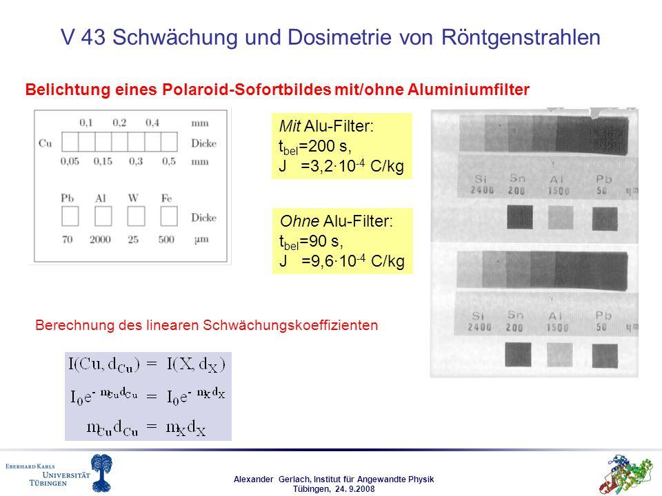 Alexander Gerlach, Institut für Angewandte Physik Tübingen, 24. 9.2008 V 43 Schwächung und Dosimetrie von Röntgenstrahlen Mit Alu-Filter: t bel =200 s