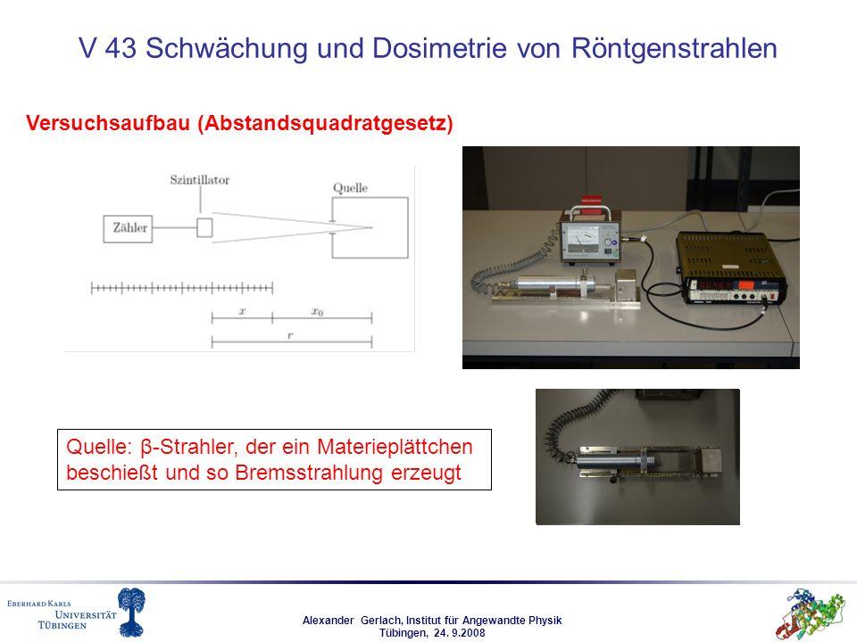 Alexander Gerlach, Institut für Angewandte Physik Tübingen, 24. 9.2008 V 43 Schwächung und Dosimetrie von Röntgenstrahlen Versuchsaufbau (Abstandsquad