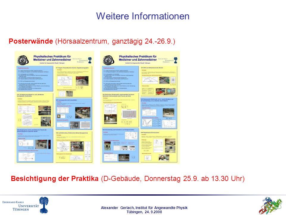 Alexander Gerlach, Institut für Angewandte Physik Tübingen, 24. 9.2008 Weitere Informationen Posterwände (Hörsaalzentrum, ganztägig 24.-26.9.) Besicht