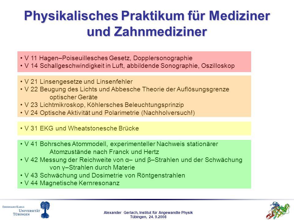 Alexander Gerlach, Institut für Angewandte Physik Tübingen, 24. 9.2008 Physikalisches Praktikum für Mediziner und Zahnmediziner V 11 Hagen–Poiseuilles