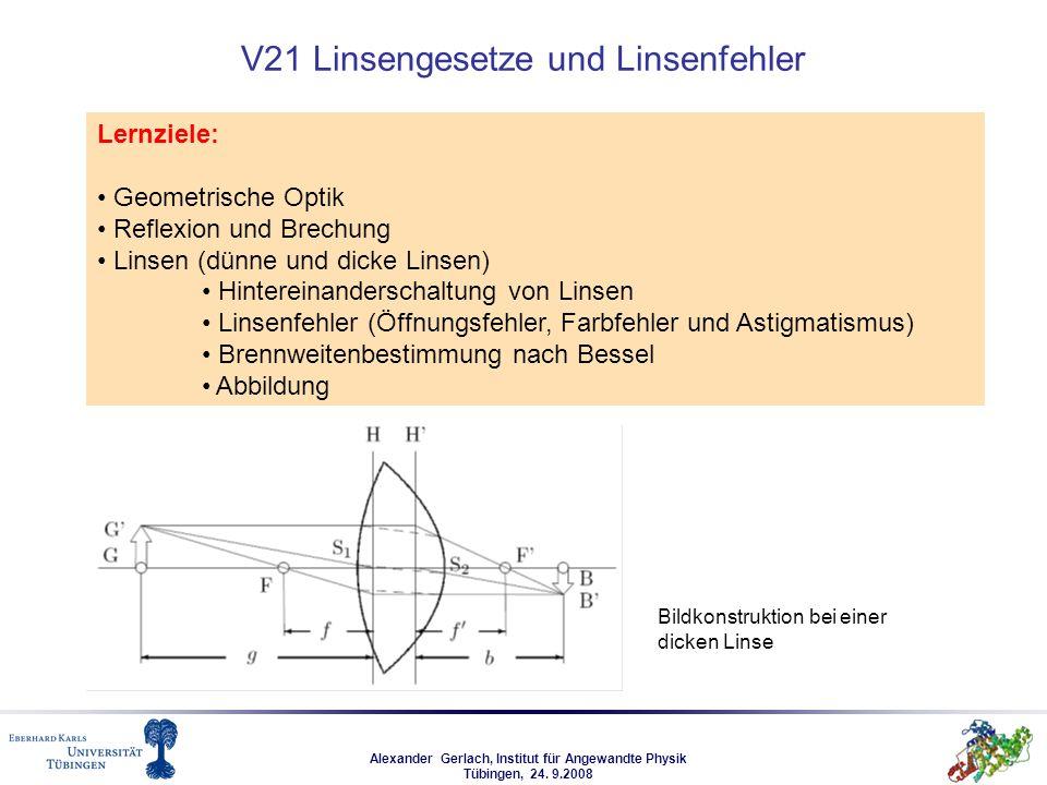 Alexander Gerlach, Institut für Angewandte Physik Tübingen, 24. 9.2008 V21 Linsengesetze und Linsenfehler Lernziele: Geometrische Optik Reflexion und