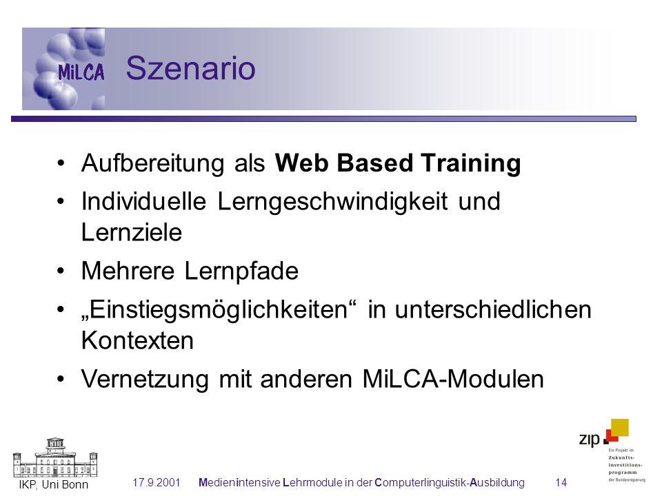 IKP, Uni Bonn 17.9.2001Medienintensive Lehrmodule in der Computerlinguistik-Ausbildung14 Individuelle Lerngeschwindigkeit und Lernziele Mehrere Lernpf