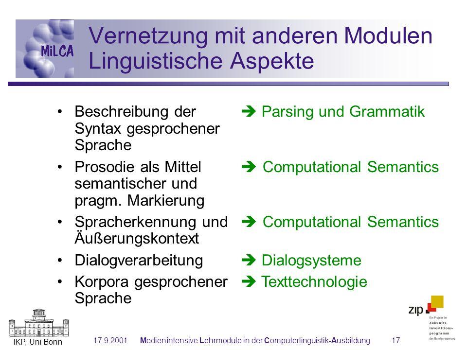 IKP, Uni Bonn 17.9.2001Medienintensive Lehrmodule in der Computerlinguistik-Ausbildung17 Vernetzung mit anderen Modulen Linguistische Aspekte Beschrei