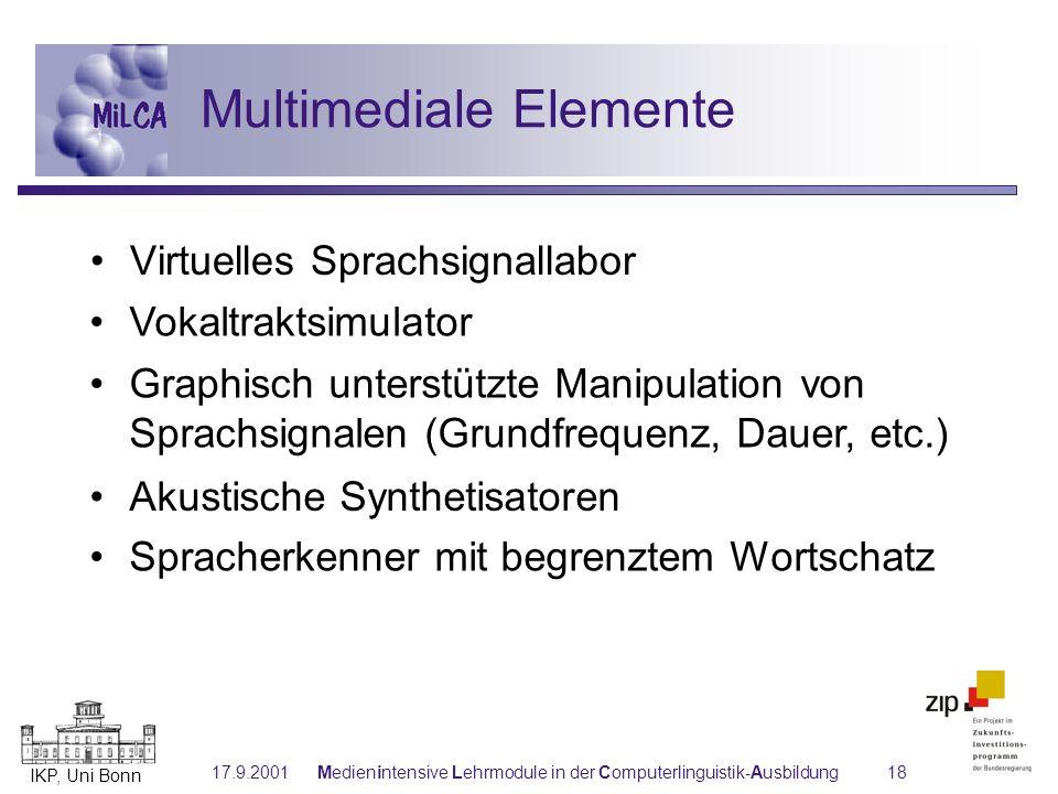 IKP, Uni Bonn 17.9.2001Medienintensive Lehrmodule in der Computerlinguistik-Ausbildung18 Vokaltraktsimulator Graphisch unterstützte Manipulation von S