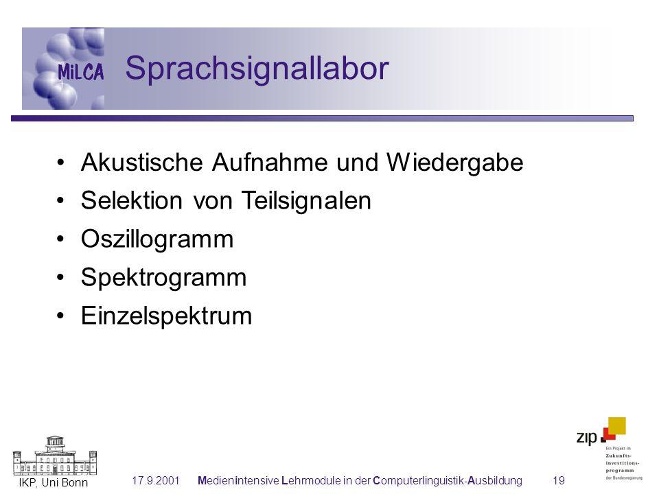 IKP, Uni Bonn 17.9.2001Medienintensive Lehrmodule in der Computerlinguistik-Ausbildung19 Selektion von Teilsignalen Oszillogramm Spektrogramm Einzelsp