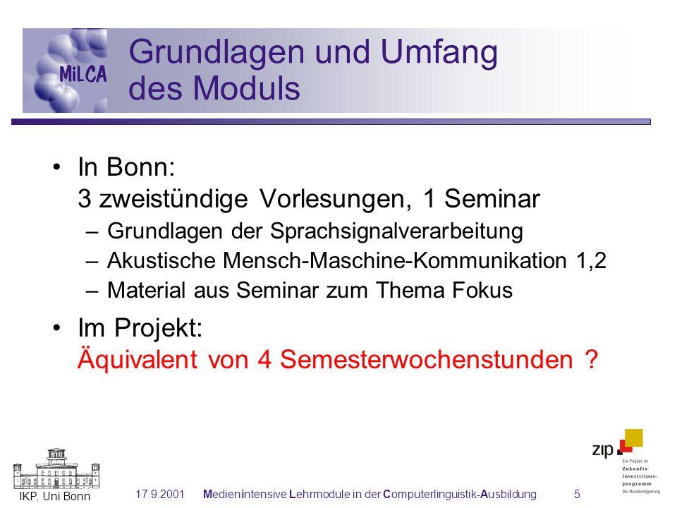 IKP, Uni Bonn 17.9.2001Medienintensive Lehrmodule in der Computerlinguistik-Ausbildung16 Vernetzung der (Teil-)Module Grundlagen der Sprachsignalverarbeitung Mathematik SpracheingabeSprachausgabe Linguistische Aspekte Andere MiLCA-Module