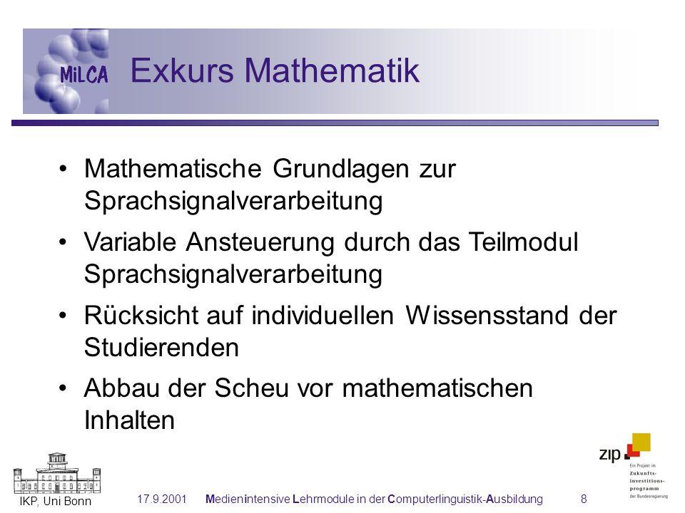 IKP, Uni Bonn 17.9.2001Medienintensive Lehrmodule in der Computerlinguistik-Ausbildung8 Exkurs Mathematik Mathematische Grundlagen zur Sprachsignalver