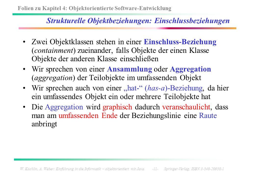 Folien zu Kapitel 4: Objektorientierte Software-Entwicklung W. Küchlin, A. Weber: Einführung in die Informatik – objektorientiert mit Java -11- Spring