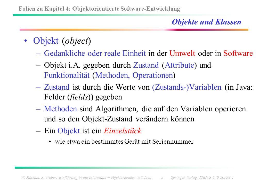 Folien zu Kapitel 4: Objektorientierte Software-Entwicklung W. Küchlin, A. Weber: Einführung in die Informatik – objektorientiert mit Java -2- Springe