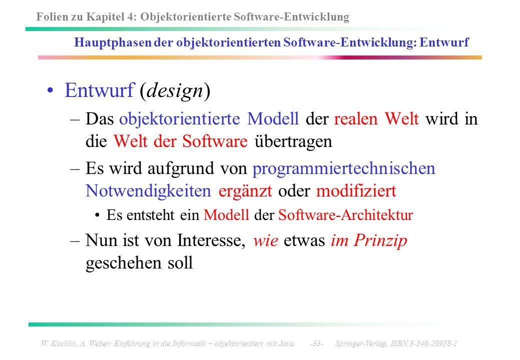 Folien zu Kapitel 4: Objektorientierte Software-Entwicklung W. Küchlin, A. Weber: Einführung in die Informatik – objektorientiert mit Java -33- Spring