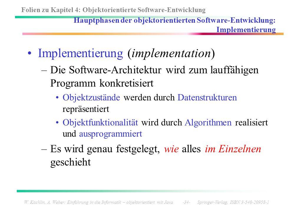 Folien zu Kapitel 4: Objektorientierte Software-Entwicklung W. Küchlin, A. Weber: Einführung in die Informatik – objektorientiert mit Java -34- Spring