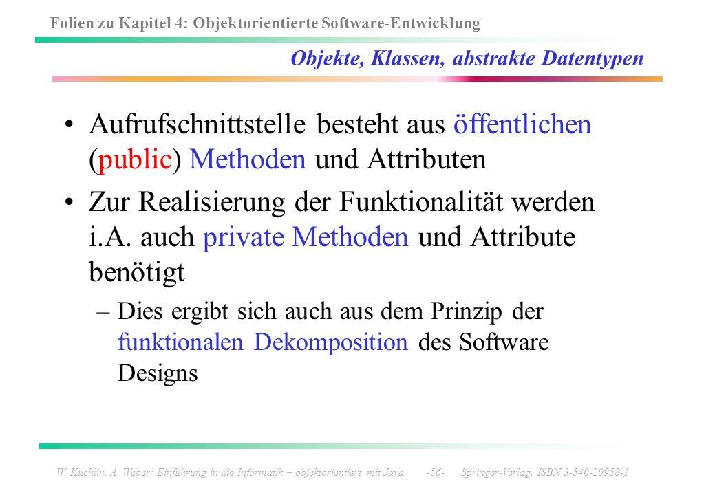Folien zu Kapitel 4: Objektorientierte Software-Entwicklung W. Küchlin, A. Weber: Einführung in die Informatik – objektorientiert mit Java -56- Spring